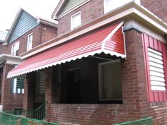 Step Down Aluminum Awning with scalloped edges and Aluminum Side Cover with louvers in it
