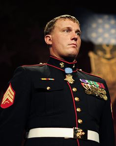 Sgt. Dakota Meyer, first living Marine recipient of the Medal of Honor.  He rescued 36 Marines, soldiers, and Afghan soldiers during six hours of combat.  He was eventually wounded but was able to recover the bodies of his four teammates/friends.  He is the first living Marine to receive the MOH since the Vietnam War.