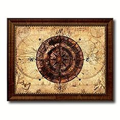 """Amazon.com: Compass Nautical Vintage Map 70002 Ocean Office Home Decor Wall Art Gift Ideas - 15"""" x 19"""": Posters & Prints"""