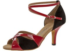 Schwarz rote Damentanzschuhe für Salsa und Tango - super bequem mit 7,5 cm hohem Absatz