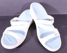 Crocs White Blue Size 9 Wedge Slide Sandals Shoes #Crocs #Slides #Casual
