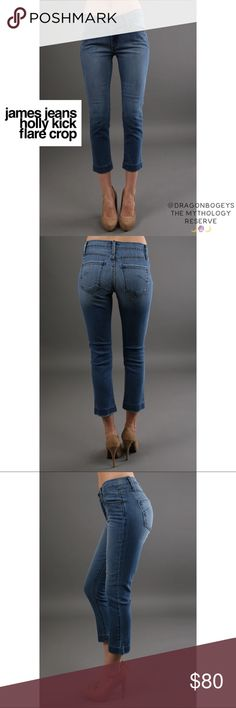 """James Jeans Holly Kick Flare Crop James Jeans dry aged denim in a cropped slightly flared cut. Medium wash. Fabric is 98% cotton and 2% Lycra. Inseam is 26"""", waist is 27"""", front rise is 8.5"""". In excellent gently used condition. James Jeans Jeans Ankle & Cropped"""