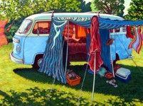 Original Artwork Kombi Camper Painting by a NZ Artist featured at The Little Gallery of Fine Arts Nz Art, Art For Art Sake, Retro Caravan, Retro Campers, Vintage Campers, Kombi Home, Kombi Camper, New Zealand Art, Kiwiana