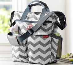 Gray Chevron Skip Hop Duo Diaper Bag with your personalized monogram to make it extra special   Pottery Barn Kids