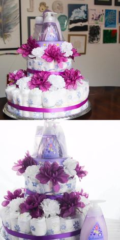 Mar 2019 - A quick and easy tutorial for the best baby shower gift ever - a DIY Diaper Cake with a white and purple color scheme. This Baby Diaper Cake is topped with Baby Bath Products for a thoughtful and useful gift for new moms-to-be. Diaper Cakes Tutorial, Diy Diaper Cake, Nappy Cakes, Diaper Crafts, Girl Diaper Cakes, Diy Cake, Cake Tutorial, Baby Shower Crafts, Best Baby Shower Gifts