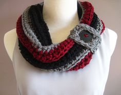 Chunky Bulky Crochet Cowl with Black Button in Black, Wine & Gray - $24