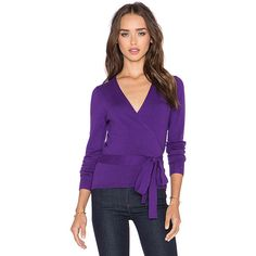 Diane von Furstenberg Ballerina Wrap Sweater Sweaters & Knits (975 QAR) ❤ liked on Polyvore featuring tops, sweaters, sweaters & knits, purple knit sweater, ballet tops, wrap knit top, diane von furstenberg and wrap sweater
