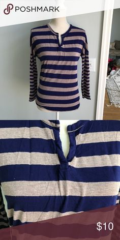 Tan and blue striped shirt 100% rayon. Super comfy and casual Tops Tees - Long Sleeve