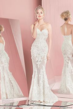 galia lahav wedding dress spring 2016 runway halter neck embroidery dress belt blush sheath bridal gown back
