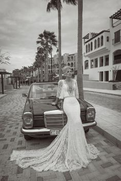low-cut wedding dress with a loose sleeve