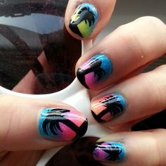 Palm trees and sunsets! #nails #nailart #gradient #manicure #pretty #palmtrees #love