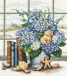 Dimensions Hydrangeas & Shells Counted X - Stitch Kit