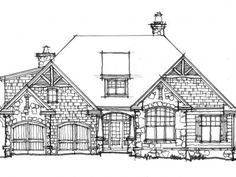 CONCEPTUAL HOME PLAN 1440: MODEST COTTAGE - HousePlansBlog.DonGardner.com – New Home Plan on the Drawing Board 1440 is perfect for families with small children - all bedrooms on one side! 3 beds, 2 baths, approx. 1923 sq ft. #craftsman #onestory #cottage