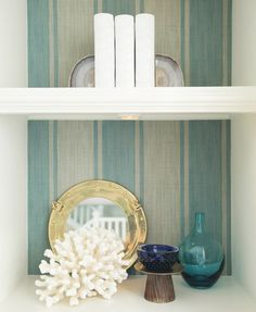 As featured on House of Turquoise Josseph Abboud Aqua Stripe Wallpaper by Kenneth James #wallpaper #homedecor