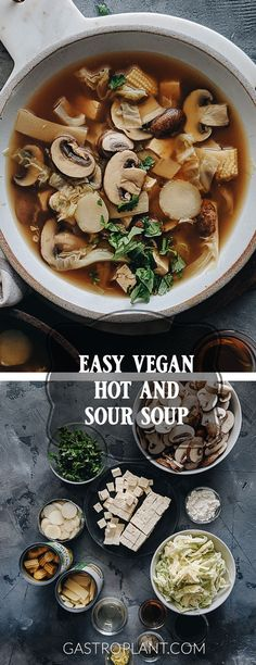 vegan hot and sour soup is such a treat for the senses that I can never eat just one bowl. It's aromatic, spicy, and filled with nourishing veggies of all different textures. And the tender tofu cubes make it substantial enough to be a meal on its own. Whole Food Recipes, Soup Recipes, Vegetarian Recipes, Cooking Recipes, Healthy Recipes, Beef Recipes, Easy Recipes, Clean Eating Snacks, Healthy Eating