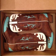 FLASH SALE!!!  1883 Lucchese Cowboy Boots Hand Made Cowboy Boots // Purchased in Texas // Calf Leather // Worn Once // Great Condition // Like New // 1 Inch Heel / Brown Calf with Turquoise and White Inlay // Fully Leather Lined Lucchese Shoes Heeled Boots