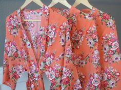 Coral Floral Kimono Bridal Party Robes Available in 8 Different Colors! Starting at just $16. https://www.ellawinston.com/collections/robes #bridesmaidrobe #gettingreadyrobe