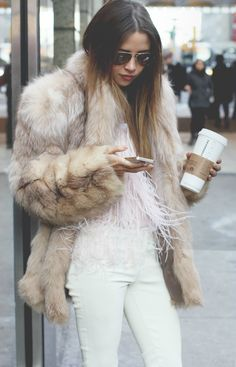 #nyfw shot by allie beckwith for andiwaslike.com #streetstyle fur and feathers by wes gordon