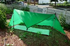 Square Tarp Pitches. Handy for camping in super hot weather (like EDC ^^) when you need a breeze.