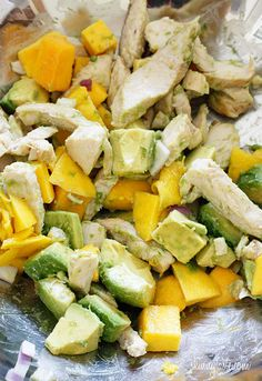 Sweet champagne mangos pair superb with creamy haas avocados and grilled chicken for a sweet-savory salad to delight your taste buds. This meal is ready in minutes, perfect for a hot summer day or night!     I could live on a tropical island and never miss the fruit from the states.     When I was a kid, I spent many summers at my cousin's house in Puerto Rico and I remember the mango trees and mangoes all over her yard. I would pick them up and try to save them, but even I couldn't consume…