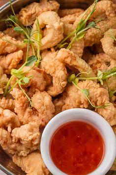 Puffy Fried Shrimp - Made with flour, water, shortening, salt, black pepper, egg whites, shrimp, vegetable oil | CDKitchen.com