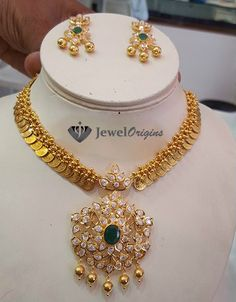 Lakshmi Gold Coin necklace with Pachi work Diamond and Emerald pendant