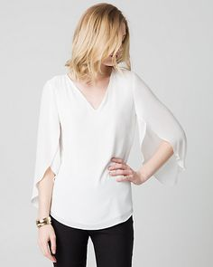 Crêpe de Chine V-Neck Blouse - Gorgeous tulip sleeves grace this chic V-neck blouse for an ethereal look.