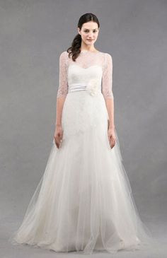 Wedding Dresses: Lace and Tulle Long Sleeve Gown