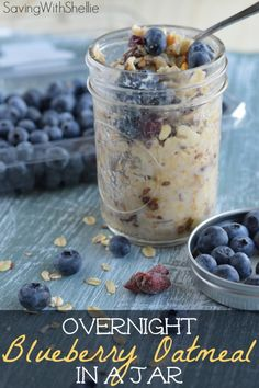 Overnight Blueberry Oatmeal in a Jar. Perfect for a fast, healthy on-the-go breakfast. Make it Sunday and you are set for the week!