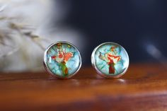 Cercei din flori naturale in rasina creati manual Lily, Turquoise, Earrings, Jewelry, Ear Rings, Stud Earrings, Jewlery, Jewerly, Green Turquoise