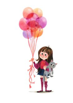 Genevieve Godbout illustration Balloon Illustration, Character Illustration, Children's Book Illustration, Cute Girl Illustration, Princess Illustration, Cartoon Drawings, Cute Drawings, Inspirational Artwork, Illustrations And Posters