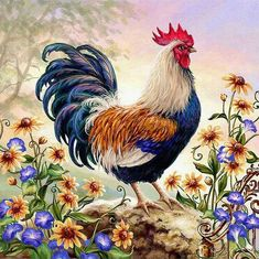 Diamond Painting Embroidery Cross Crafts Stitch Kit Home Art Decor DIY Gifts Rooster Painting, Rooster Art, Diy Painting, China Painting, Painting Canvas, Canvas Art, Chicken Painting, Chicken Art, Chicken Drawing
