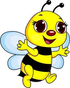 Cute Funny Bee Cartoon vector image on VectorStock Easy Drawings Sketches, Art Drawings For Kids, Drawing For Kids, Cartoon Bee, Cartoon Wall, Cute Cartoon, Bee Clipart, Bee Pictures, Bee Images