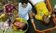 Brazil's Neymar grimaces as he is carried off the pitch after being injured during their 2014 World Cup quarter-finals against Colombia at the Castelao arena in Fortaleza July REUTERS/Fabrizio Bensch Bbc News, World Cup Video, History Of Soccer, Brazil Team, Fifa 2014 World Cup, Jamaica News, Dancehall Reggae, Good Soccer Players, Spain