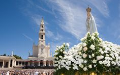 """Sanctuary of Our Lady of #Fatima #Portugal On October 13, with about 70,000 people present, the Lady said to the three shepherds that she was the """"Lady of the Rosary"""" and that a chapel was to be built there in her honor. After the apparition all present witnessed the miracle promised to the three children in July and September :the sun, resembling a silver disc, could be gazed at without difficulty and, whirling on itself like a wheel of fire, it seemed about to fall upon the earth."""