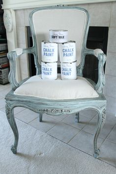 ❤️ LOVE  this French chair! - The paint I used on this chair is not chalk paint but a color called Swan Sea by Behr but it is Sherwin Williams flat latex paint. I am assuming that the color is a Behr color but I'm not sure because the paint was mixed in 2005! It is so old I don't even know what we were going to use it for. ~ Cindy ~ Cameras and Chaos: mr. oblivious, how do you not notice?????