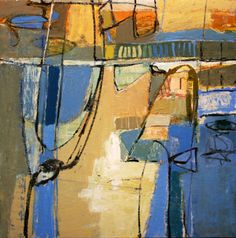 Blue Harbor Walk, 36 x 35, Leslie Allen at Donna Seager Gallery