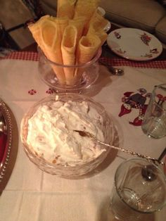 Krumkaker with cloudberry cream, a Norwegian classic during the holidays and beyond.