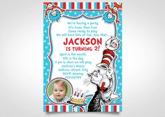 Dr Seuss Birthday Invite by FuntasticParties on Etsy