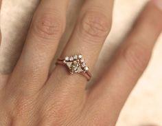 Diamond Set Wedding Ring Set Wedding Set Engagement by MinimalVS