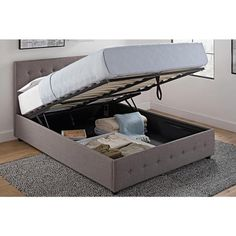 The gas lift technology makes it easy to lift the frame even with a heavy mattress and the mattress frame stays in a lifted position without aid so you are free to organize under the mattress. Whether