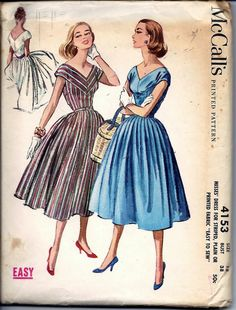 Vintage 50s McCall's 4153 Rockabilly Dress by vintagepatternstore, $26.99