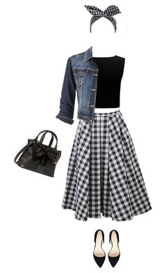"""Gingham skirt"" by lenaick ❤ liked on Polyvore featuring Michael Kors, Forever New, maurices, Nine West and Betsey Johnson"