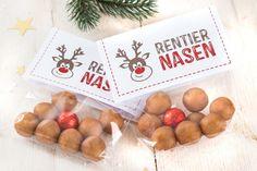 Die Rentier Nasen sind ein süßes Geschenk oder Mitbringsel für alle Kinder. 8 Rentier Nasen für die Rentiere des Weihnachtsmanns, und eine rote für Rudolph.