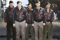 Crew No. 15: Lt. Donald G. Smith, pilot; Lt. Griffith P. Williams, copilot; Lt. Howard A. Sessler, navigator/bombardier; Lt. Thomas R. White, flight engineer; Sgt. Edward J. Saylor, gunner. (U.S. Air Force photo colorized by Lori Lang)