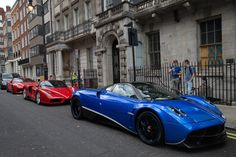 A row of Ferraris parked behind a blue Dubai-registered Pagani Huayra in the capital - vehicles that are usually only seen on the pages of car magazines and on TV Super Sport Cars, Super Cars, Pagani Huayra, Car Magazine, Center Stage, Lamborghini, The Row, Dubai, London