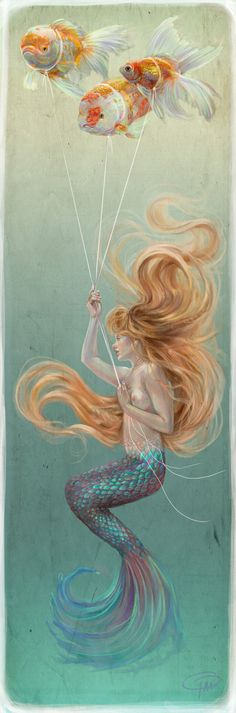 Mermaid with Goldfish Balloons by MissTakArt