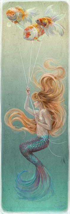 Mermaid with Goldfish Balloons by MissTakArt