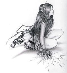 Illustration of Fairy. Fairy Drawings, Fantasy Drawings, Pencil Drawings, Fantasy Art, Figure Drawings, Alan Lee, Magical Creatures, Fantasy Creatures, John Howe