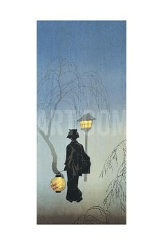 Silhouette of a Woman Holding a Japanese Lantern and Walking Impression giclée at Art.com